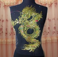Wholesale 22 cm large dragon embroidery on black gauze with paillette sew on applique raw material for classic or performing clothes