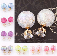 beads earings - High Quality Summer Fashion Double Sides Stud Earrings for women luxury crystal ball beads crown earings