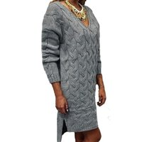 asymmetrical hem sweater - Fashion Spring Autumn Women Sweater Dress Casual Loose Knitted V Neck Long Sleeve Irregular Hem Split Pullovers Plus Size