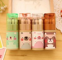 Wholesale New Cartoon Bear series DIY Multifunction Wooden color pencil set with sharpener children stationery pencils