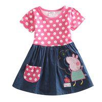 Wholesale New Cartoon Dresses Summer Clothes for Girls Girls Princess Dress Polka Dot Dress Cotton Cartoon Pig Embroidery H4725