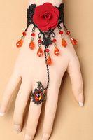 Wholesale Gothic Red Rose Lace Charm Bracelet Set LC00018