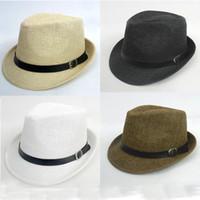straw trilby hat - New Arrive Unisex Trilby Gangster Cap Summer Beach Sun Straw Panama Hats Men Women Stingy Brim Caps Colors Choose
