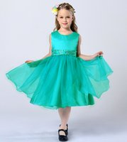 Wholesale Jewel Neck Beaded Rhinestone Organza Satin Ball Gown Flower Girls Dress New First Communion Dress