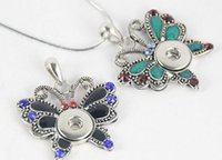 Wholesale 12mm colorful butterfly with rhinesthone snap button pendant noosa necklace pendant mm NOOSA chunks snap button alloy jelwery accessories