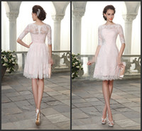 Wholesale Modest Prom Dresses With Sleeves Pink Lace Bateau Neck Half Sleeve Homecoming Dressed Crystals Short Cheap Graduation Dresses