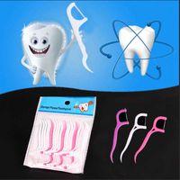 Wholesale Bow Shaped Dental Plastic Floss Picks Interdental Brush Teeth Toothpicks Stick Oral Care Sword