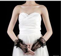 Wholesale 2016 Cheap White Purple Black Bridal Gloves Wedding Gloves Lace No Finger Wedding Satin Appliques Lace Beads Fingerless Bridal Gloves
