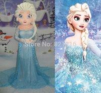 al por mayor mascarada precio barato-La nueva princesa azul Elsa Mascot Traje de la mascarada congeló el partido adulto del vestido de lujo del tamaño Buena calidad y la nave libre directa directa de la fábrica del precio