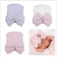 Unisex Spring / Autumn Newborn Hat 2016 newborn baby beanie hats boy girls knit big bows caps toddler hat infant cotton crochet cap kids hair accessories bonnets wholesale