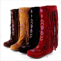 Bon Marché Longue en cuir femmes boot-Mode Chinoise Nation Style Flock Femmes Fringe talons plats Long Bottes Femme Printemps Automne Tassel Knee Bottes hautes