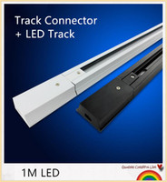 Wholesale HOT DHL M Led track light rail connector track rail Universal two wrie rails aluminum track lighting fixtures Black White