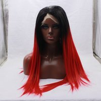 Wholesale Silky Straight Black Roots Ombre Red Wig For Black Women Cheap High Quality Synthetic Lace Front Wig Red Glueless
