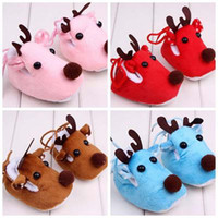 Wholesale Cute Blue Christmas Shoes - Cute Christmas Elk Baby Walking Shoes Soft Warm Winter Autumn Children Shoes Cotton Fabric Thread Lace-up Customized