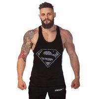Wholesale Superman Gym Clothing Gymshark Tank Tops Men Shirt Bodybuilding Mens Gold s Gym Stringer Tank Top Sports Clothes