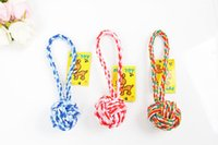 Wholesale 27CM Pet woven stripe cotton rope ball cats and dogs chew toys dogs knot toy WA0826