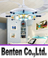Wholesale Children bedroom room fan chandelier invisible dining room modern minimalist Mediterranean LED ceiling fan lamp LLFA
