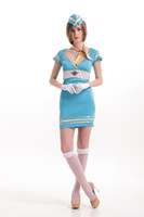 airlines game - New Arrival Woman s Sexy Uniform Sexy Blue Airline Stewardess Role Play Costumes Nightclub Disfraces HL159123 game clothing