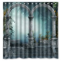 arched curtains - Arch Forest Gate Door Flowers Design Shower Curtain Size x cm Custom Waterproof Polyester Fabric Bath Shower Curtains