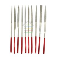 Wholesale 10pcs Assorted Red Diamond Needle File Set Sharpening x140mm Jeweler Diamond Gringding Carving Craft Tool Metal Glass Stone order lt no tra