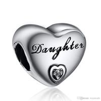 al por mayor corazón pulsera europea-La hija mayor con el cristal blanco del encanto del corazón 925 encantos de plata esterlina europeos ajuste del grano de la serpiente de Pandora pulseras de cadena de joyería de bricolaje