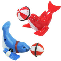 Wholesale Plastic Clockwork Wind Up Spring Toy Mini Performing Dolphin Kids Children Toys A00038 SMAD