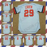 Wholesale Custom HARMON KILLEBREW KIRBY PUCKETT KENT HRBEK OLIVA Baseball jersey ROD CAREW GARY GAETTI BUTCH WYNEGAR Mens Stitched jerseys
