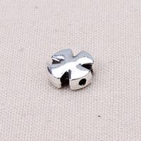 Wholesale 20pcs mm Zinc Alloy Silver Cross Shape Charm Beads Spacer Beads DIY Bracelet Making Material