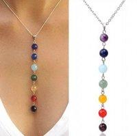 achat en gros de améthyste jade-7 chakra reiki perles guérison pierres précieuses charmes pendentif yoga équilibrage lapis collier / turquoise / améthyste / jade (taille: 18