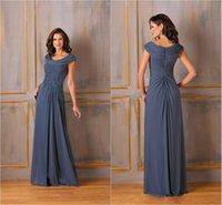 Cheap Jasmine Scoop Neckline Short Sleeves Mother of the Bride Dresses Long Pleated Chiffon with Applique Floor Length A-line Zipper Mum Dress Hot