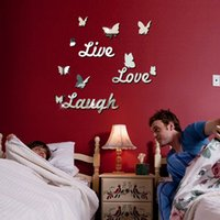 acrylic mirror letters - Live Love Laugh butterfly letters mirror wall stickers sitting room bedroom background adornment acrylic diy stickers