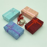 Wholesale 5 cm Rectangular Multi function Jewelry Box Bowknot Printing Necklace Box of Jewelry Boxes Drop Shipping