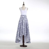 best maxi dresses - Blue and white China Flower Printed Skirts Long Hi Lo New Arrival Skirt for Women Best Quality Maxi Dress