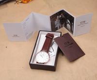 Wholesale Best Quqlity Luxury DW Watch Women Mens watches Leathe Strap Gold Dial Couple Quartz Wristwatch Relojes with box
