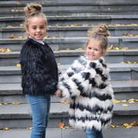 Wholesale Fashion Girls Chldren Striped Fur Coat Outwear O Neck Long Sleeve Long Winter Coats White Black Parka Jacket Party Overcoat CJF0919