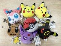 Wholesale Lovely Poke Go Plush keychain Pocket Pikachu Plush Key chain Pendants Stuffed Plush Toy With Ring cm M234