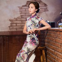 Wholesale New Silk Chinese traditional Cheongsam Dress Qipao Party Dresses new spring vintage long dress sexy wedding dress clothing