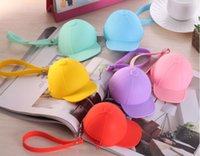 baseball cap bag - Cute cartoon candy color baseball cap coin bag mini hat key silica gel female change hand bag