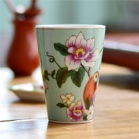 bathroom tumblers - Chinese Arts and Crafts Hand Painted Ceramic Tumbler floral and birds pattern bathroom accessories Porcelain Cup Without Handgrip