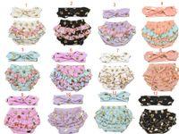 Wholesale INS Girls gold polka dot shorts baby bloomers headbands pc set childrens ruffled shorts kids cotton underwear boutique short pants C1058