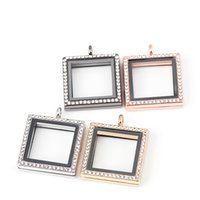 Wholesale 10pcs Hot Sale mm Silver Square Memory Magnetic Glass Living Floating Locket Pendant Necklace With Free Chains