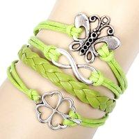 beaded butterfly bracelet - handmade vintage DIY Antique Silver Butterfly Four leaved Clover Multilayer bracelet jewelry for women QNW8031