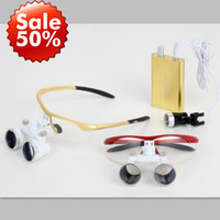 Wholesale X binocular loupe Dental Optical Glasses mm with LED Head Light Gold Color