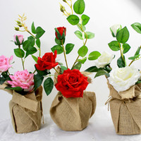 Wholesale wedding flower artificial roses potted flowers Linen package with vase party gift for Christmas home decoration