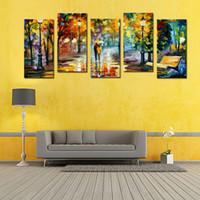 5 Панель Lover дождь Улица Дерево лампы Пейзаж картина маслом на холсте стены искусства стены картинки для гостиной Home Decor (без рамки)