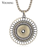 Wholesale VOCHENG NOOSA Snap Charms Jewelry Hollow out Inlaid Crystal Bronze Pendant Necklace Fit mm Button NN