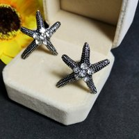 accent stud earrings - Vintage Black Oxidized Alloy Sea Star Starfish Stud Earrings with Crystal Accent Sea Life Nautical Star Fish Earrings for Girls