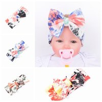 baby paint colors - New Baby Girls Headbands Europe Style Elastic wash painting flower big wide bowknot headwear colors Children Hair accessories