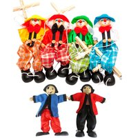 baby traditions - Pull String Baby Toys Puppet Clown Wooden Marionette Toy Joint Activity Doll Vintage Funny Traditions Classic Toy