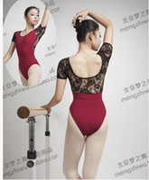 Wholesale short Sleeve Dancewear Ballet Leotard adult ballet black white red purple lace hollow sexy S XL ballet dance clothes suit adult